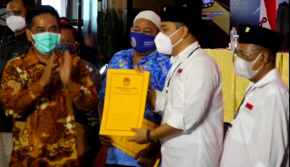 Eri-Armuji Resmi Menjadi Paslon Terpilih Hasil Pilkada Surabaya 2020