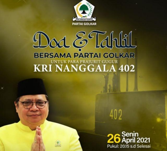 Doakan Prajurit KRI Nanggala 402,  Golkar Gelar Tahlil Bersama