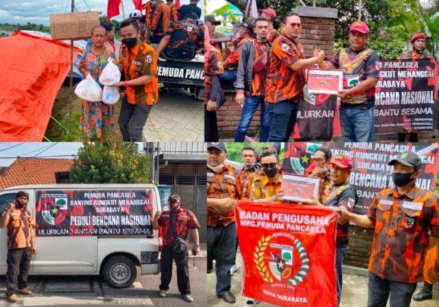Pemuda Pancasila Surabaya Salurkan Bansos Peduli Bencana Banjir