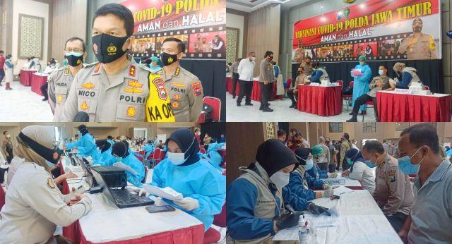 Gelar Vaksinasi, Polisi Dan Kiyai Tingkatkan Herd Immunity di Jatim
