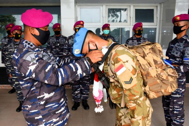Komandan Resimen Artileri 2 Marinir Sambut Prajurit Satgas PBB